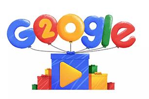 搜索巨头Google迎来20岁生日,生日主题Logo设计结合动画活力十足,趣味横生